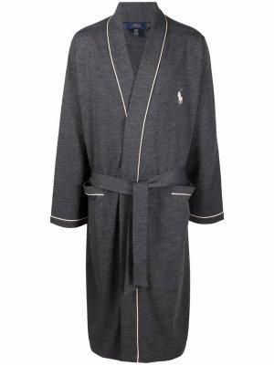Халат с вышивкой Polo Ralph Lauren. Цвет: серый