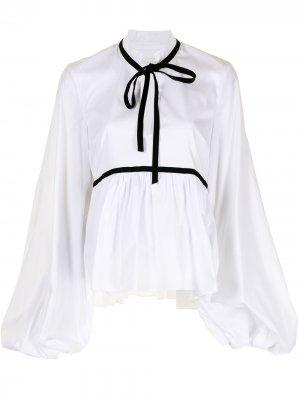 Блузка Lynn с бархатной лентой Caroline Constas. Цвет: белый