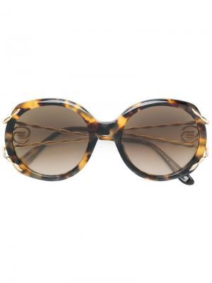 Солнцезащитные очки в объемной оправе Elie Saab. Цвет: коричневый