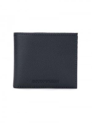 Бумажник с тисненым логотипом Emporio Armani. Цвет: синий