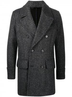 Двубортное пальто с узором в елочку Hydrogen. Цвет: серый