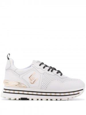 Кроссовки на массивной подошве LIU JO. Цвет: белый