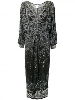 Платье макси Midnight Pearl с драпировкой Camilla. Цвет: черный