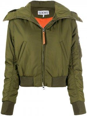 Куртка на молнии с капюшоном LOEWE. Цвет: зеленый