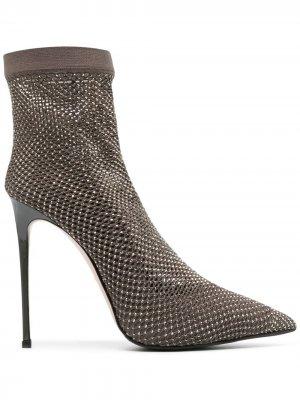 Туфли-носки Gilda 100 с кристаллами Le Silla. Цвет: серый