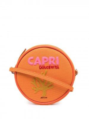 Круглая сумка на плечо Capri Olympia Le-Tan. Цвет: оранжевый