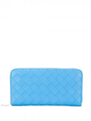 Кошелек с плетением Intrecciato Bottega Veneta. Цвет: синий