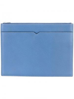 Папка для документов на молнии Valextra. Цвет: синий
