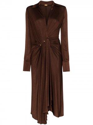 Платье миди с заниженной талией и V-образным вырезом Dodo Bar Or. Цвет: коричневый