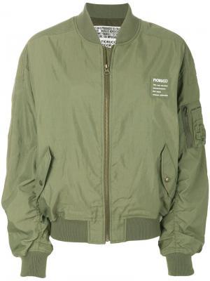 Куртка-бомбер с карманами в стиле карго Fiorucci. Цвет: зеленый