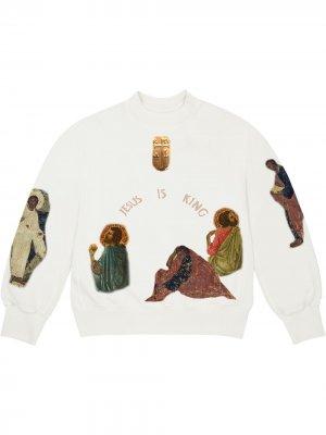 Толстовка Jesus Is King Cross Kanye West. Цвет: белый