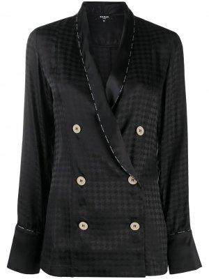 Пижамный топ с геометричным узором Balmain. Цвет: черный