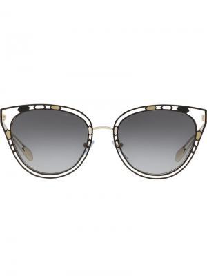 Солнцезащитные очки с прорезями Bulgari. Цвет: черный