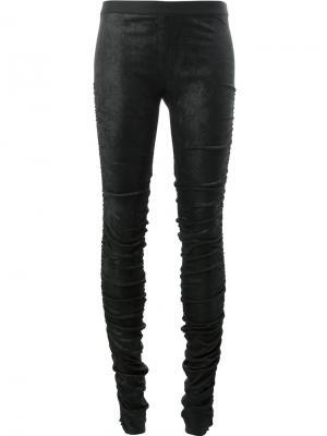 Облегающие брюки со сборками Ilaria Nistri. Цвет: черный
