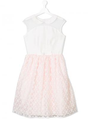Платье с цветочным кружевом Lesy. Цвет: белый