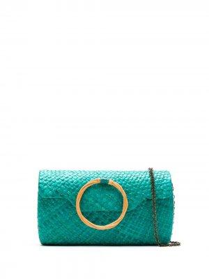 Соломенный клатч SERPUI. Цвет: зеленый