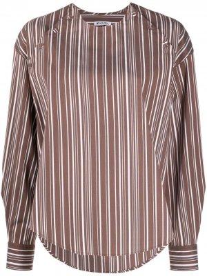Рубашка без воротника с вышивкой Krizia. Цвет: коричневый