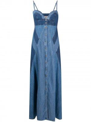 Джинсовое платье макси с контрастными вставками Diesel. Цвет: синий