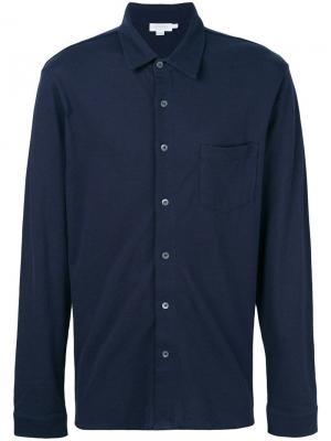 Рубашка с длинными рукавами из ткани пике Sunspel. Цвет: синий