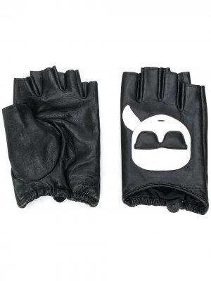 Перчатки-митенки K/Ikonik Karl Lagerfeld. Цвет: черный