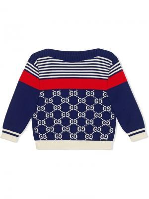 Трикотажный свитер с полосками и логотипом GG Gucci Kids. Цвет: синий