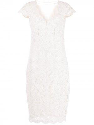 Платье миди с вышивкой Tadashi Shoji. Цвет: белый
