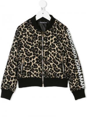 Leopard print bomber jacket Marco Bologna Kids. Цвет: черный