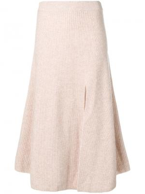 Трикотажная юбка миди в рубчик Altuzarra. Цвет: нейтральные цвета