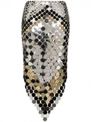 Декорированная юбка миди Paco Rabanne. Цвет: золотистый