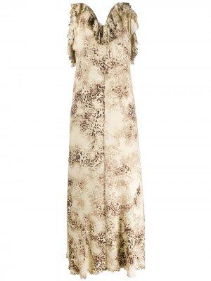 Длинное платье 2000-х годов с леопардовым принтом A.N.G.E.L.O. Vintage Cult. Цвет: нейтральные цвета