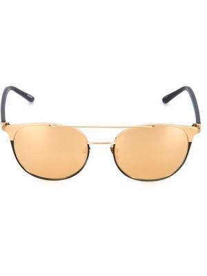 Солнцезащитные очки с зеркальными линзами Linda Farrow. Цвет: золотистый