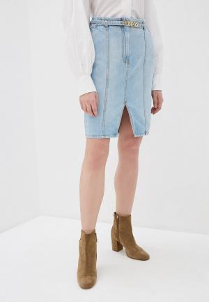 Юбка джинсовая Pinko. Цвет: голубой
