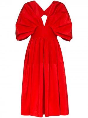 Расклешенное платье миди Alexander McQueen. Цвет: красный