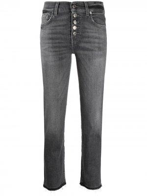 Укороченные джинсы кроя слим 7 For All Mankind. Цвет: серый