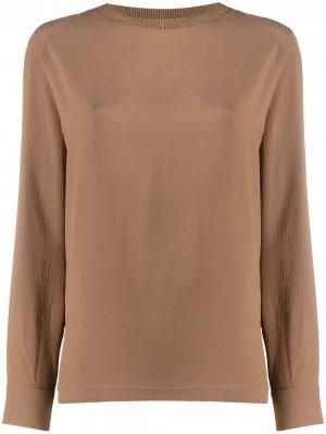 Блузка с воротником в рубчик Fabiana Filippi. Цвет: коричневый