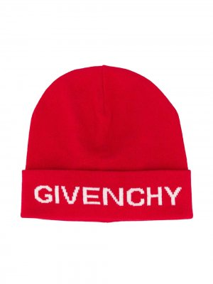 Вязаная шапка бини с логотипом Givenchy Kids. Цвет: красный