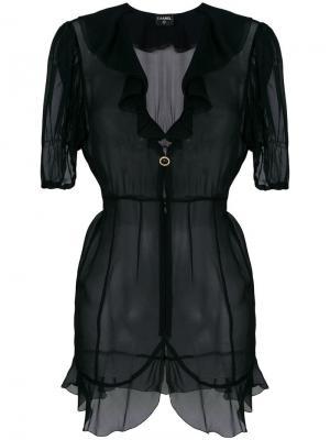 Прозрачная блузка с оборками Chanel Vintage. Цвет: черный