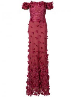 Вечернее платье с открытыми плечами и цветочной аппликацией Marchesa Notte. Цвет: красный