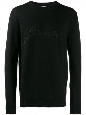 Джемпер с вышитым логотипом Balmain. Цвет: черный