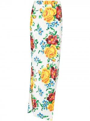 Юбка макси с цветочным принтом и пайетками Ashish. Цвет: белый