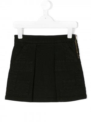 Джинсовая юбка с заплатками Andorine. Цвет: черный