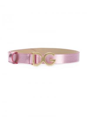 Ремень с логотипом Dolce & Gabbana Kids. Цвет: розовый