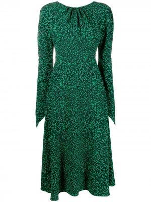Платье миди с графичным принтом и вырезом Victoria Beckham. Цвет: зеленый
