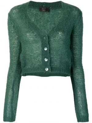Fuzzy cropped cardigan Ki6. Цвет: зеленый