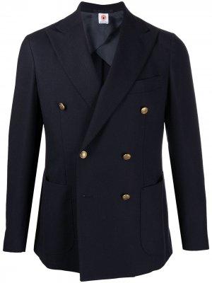 Двубортный пиджак Borrelli. Цвет: синий