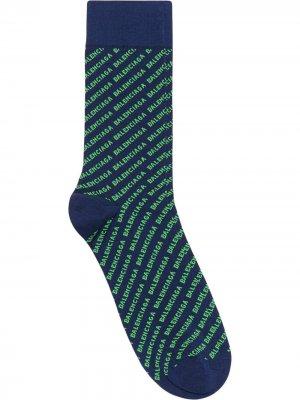 Носки с вышитым логотипом Balenciaga. Цвет: синий