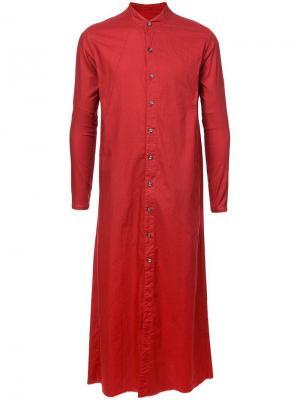 Длинное пальто-рубашка Nude. Цвет: красный
