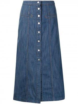 Джинсовая юбка с завышенной талией Manning Cartell. Цвет: синий