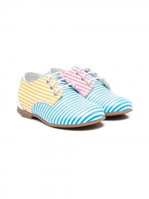 Туфли броги с полосками Gallucci Kids. Цвет: белый
