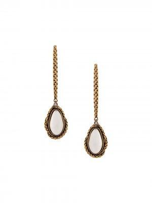 Серьги-подвески с камнями Alexander McQueen. Цвет: золотистый